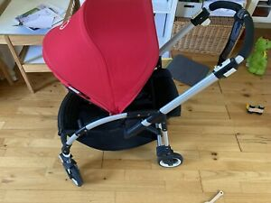 Bugaboo Bee Plus with Carrycot, Bee 3 Red Hood, Baby Cocoon and Rain Cover