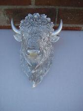 Huge Silver Faux Buffalo Head Wall Mount Statue Decor Lodge Cabin Home Decor