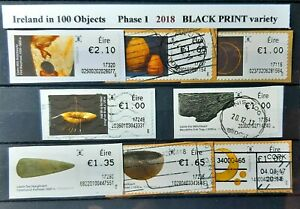 Ireland in 100 Objects Phase 1   (8), Used, Year 2018 , BLACK Print Variety