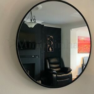 Large Industrial Style Round Wall Mirror Brushed Black Metal Frame Round Mirror