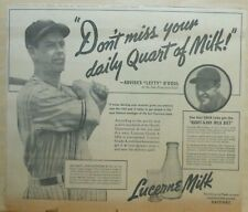 Large 1937 newspaper ad for Lucerne Milk - Joe Marty Chicago Cubs baseball