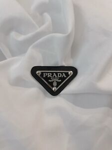 Prada Classic Triangle Logo Silver Plate in Black with Leather
