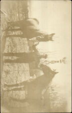 Farmer w/ His Two Horses Old Windmill c1910 Real Photo Postcard