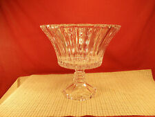 """Soga Glass Japan Nice Heavy Vertical Design Footed Centerpiece 9"""" T x 9 3/4"""" W"""