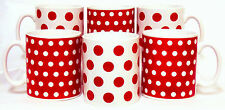 Red Dots and Spots Mugs Set of 6 Red Porcelain Mugs Hand Decorated in the UK