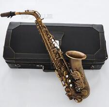 Professional Retro Brass Alto Saxophone 875 Model E-Flat Sax High F# With Case
