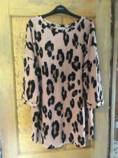 F&F ladies salmon pink leopard print dress top size 22
