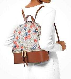 Michael Kors Backpack Bag Rhea Md Backpack Vanilla Multi New