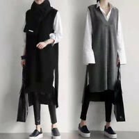 Women Gray Knitted Vest Dress V-neck Mid-Length Sweater Long Dress Casual Loose
