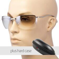 Men Rectangular Rimless Transparent Sunglasses Eyewear Black Silver Color Case