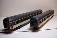 WAGONS TRAIN HO : LOT 2 VOYAGEURS 1ere CL CORAIL SNCF de LIMA OCCAS (sans boite)