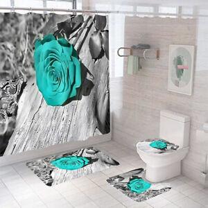 Rose Shower Curtain Bathroom Rug Set Thick Bath Mat Non-Slip Toilet Lid Cover