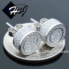 MEN 925 STERLING SILVER 9MM LAB DIAMOND ICED OUT BLING ROUND 3D STUD EARRING*E86