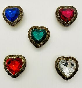 Vintage Faux Gem Gold Tone Button Covers Heart Blue Green Red Clear Pink 5 Total