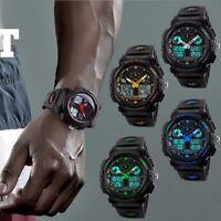 SKMEI Men Dual Time LED Military Date Chrono Waterproof Sport Quartz Wrist Watch