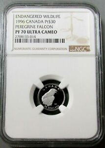 1999 PLATINUM CANADA $30 PEREGRINE FALCON NGC PROOF 70 ULTRA CAMEO 1585 MINTED