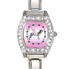 Greyhound Dog CZ Lady Stainless Steel Italian Charm Bracelet Wrist Watch BJ1042