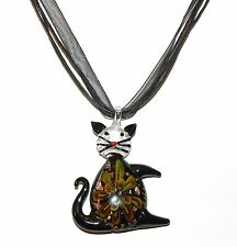 "MN366c Black Cat & Yellow Flower Lampwork Glass Pendant 17"" Ribbon Cord Necklace"