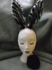 Zebra Print Rabbit Hare Ears & Tail Black & White Stripe Fancy Dress Hen Night