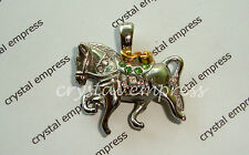 FENG SHUI - SILVER WIND HORSE CARRYING TREASURES PENDANT (STAINLESS STEEL)