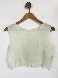 Issey Miyake Women's Crop Pleated Tank Top   S UK8   White