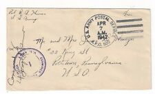 1942 US Army Postal Service, APO #502 New Caledonia to Pottstown PA Censored