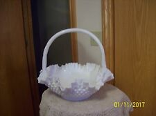 Fenton Hobnail Large White Milk Vintage Handled Ruffled Edge Basket