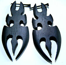 Boucles d'oreilles Piercing Bois Wooden Earring piercing Ethnique tribal noir