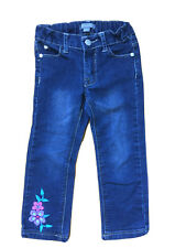 New listing Pumpkin Patch size 3  Blue Denim Jeans with flower embroidery elastic adjustable