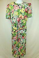 Vintage Leslie Fay Womens Ladies Green Floral Short Sleeve Dress Size 16