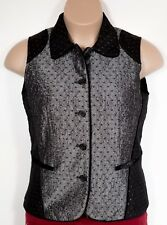 Coldwater Creek Black Grey Two toned Glimmer Vest  Velvet trim Size Small  NWT