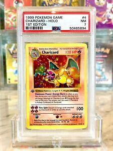 Charizard Holo Pokemon Card 1st Edition Shadowless Base Set 4/102 BGS PSA 7 NM