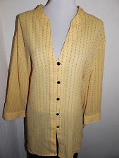 4x Maggie Barnes Women Plus Size Yellow 3/4 Sleeve Button Down Stretch Top