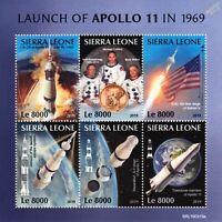 NASA APOLLO 11 50th Anniv. Moon Landing Space Stamp Sheet #1 (2019 Sierra Leone)