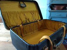 Vintage Suitcase Luggage Black Gold Interior
