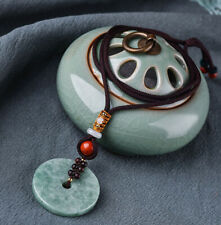 Round Shaped Jadeite with Red Stone Pendant