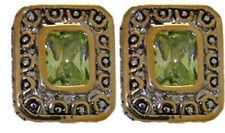 Circonita Cúbica Cable Pendientes Verde white18 Kt Oro Amarillo Placa Dos 2