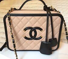 NIB Authentic Chanel Vanity filigree case beige In RARE Medium leather handbag