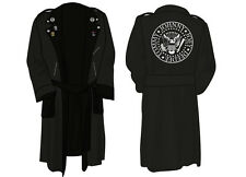 THE RAMONES 100% COTTON TOWELLING BIKER BATH ROBE EMROIDERED LOGO BATHROBE NEW