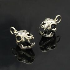 1 pc ~ Sterling Silver Cat Skull Charm - Halloween Charm