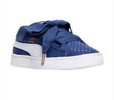 AUTHENTIC Puma Basket Heart Denim Twilight Blue White 36337101Women size