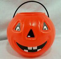 Halloween Trick or Treat Pumpkin Bucket Jack O Lantern Pail Vintage Orange Small