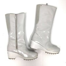 Rockport White Wedge Waterproof Boots Patent Leather Knee High Festival