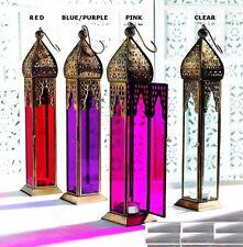 Moroccan Large Tall Plain Glass Lanterns Tealight tea Light Holder Home Garden