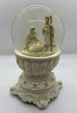 Vintage Christmas Glass Snow Globe Nativity Scene Music Box Works!
