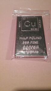 1/2 Pound Copper Bullion Bar - Elemental