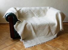 White Wool Throw Blanket Warm Scandinavian Home Decor Anniversary Wedding Gift
