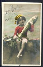 Carte Postale Ancienne 1er AVRIL Cachet BOOM (BELGIQUE) en 1907 Poisson d'Avril