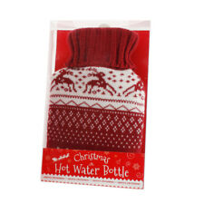 Hot Water Bottle with Knitted Cover Nordic Reindeer Burgandy & White