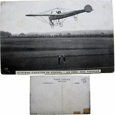 cpa Quinzaine aviation Stockel Woluwe-St-Pierre 1910 essai passager monoplan
